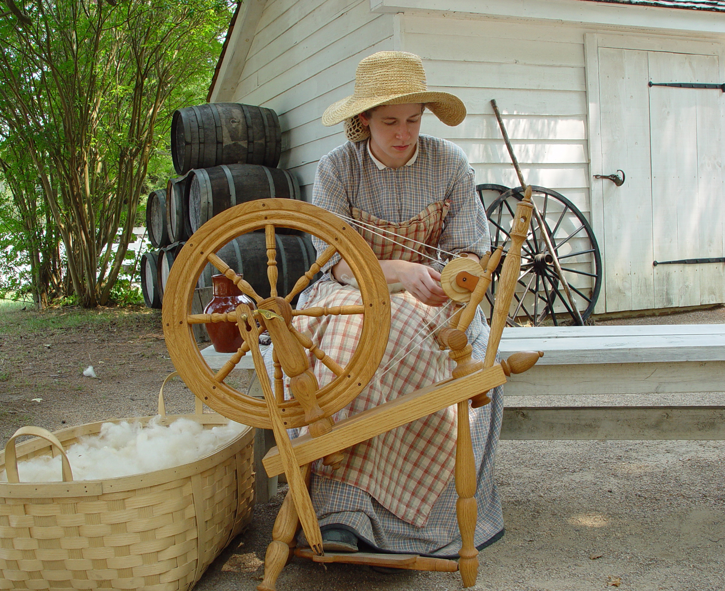 costumed interpreter spinning wool