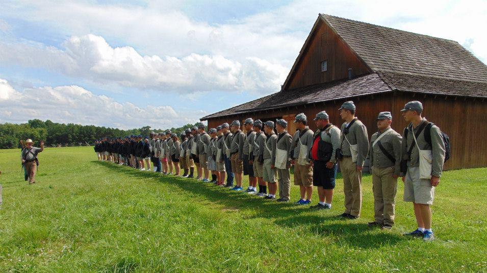 CWAC participants line up for inspection