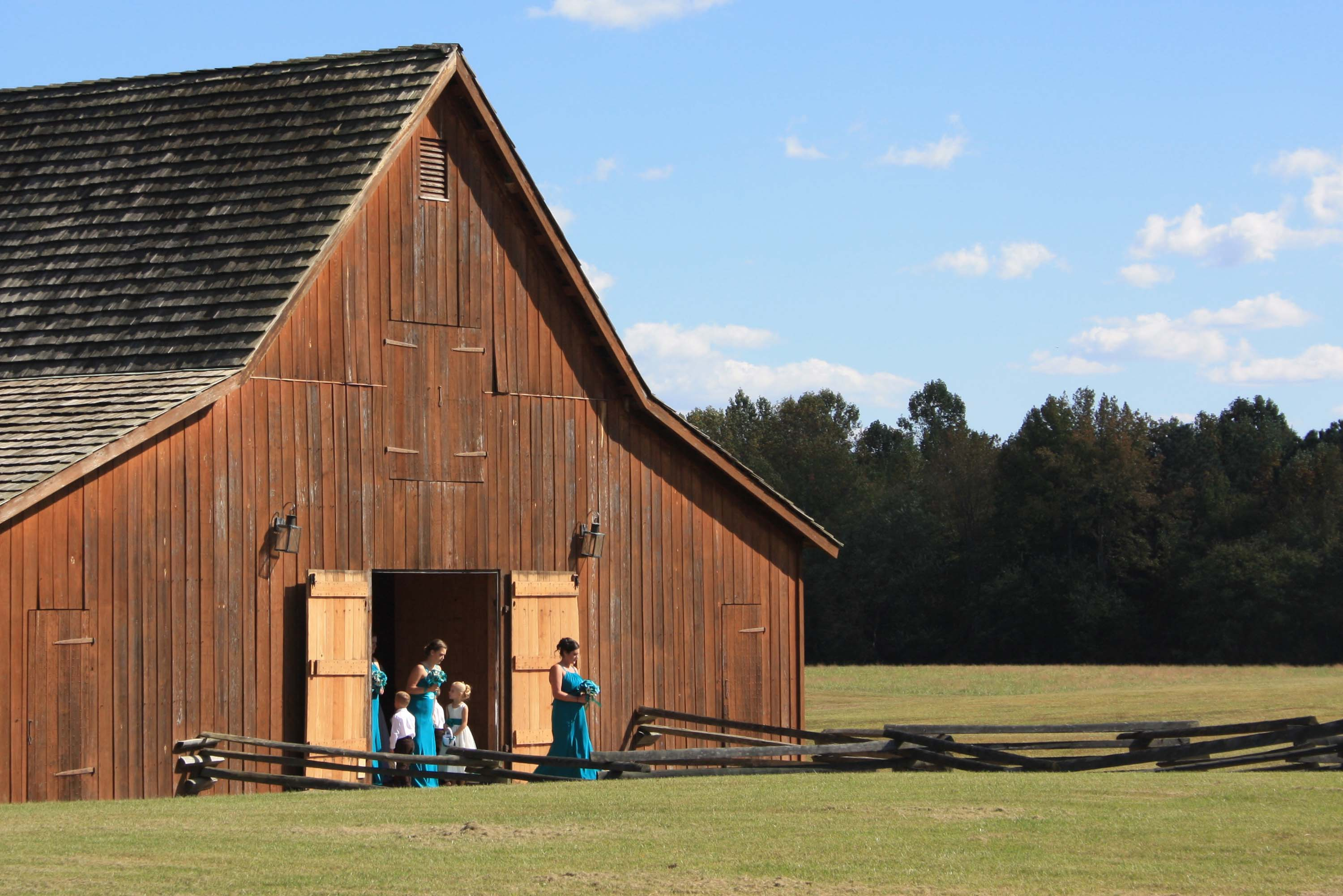 The Hart Farm barn, as viewed from the house