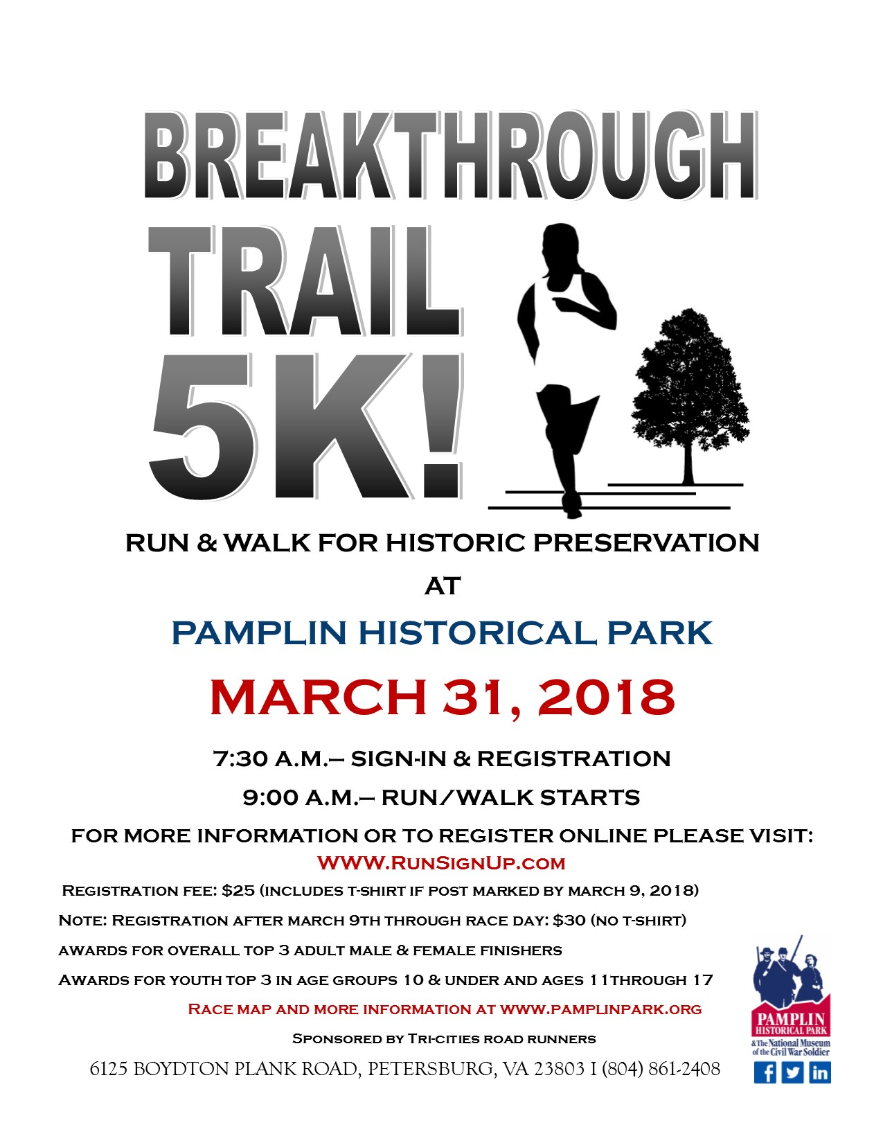 breakthrough 5k trail run walk pamplin historical park
